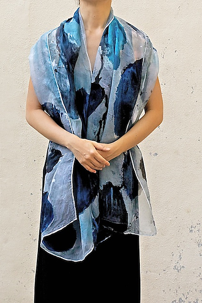 Floral Organza Scarf in Blue Lotus