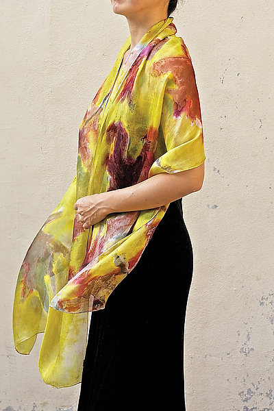 Floral Organza Scarf in Yellow Maple