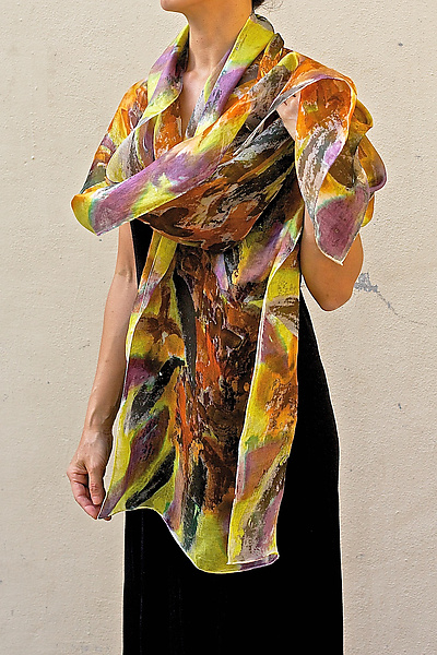 Floral Organza Scarf in Orange Osmanthus