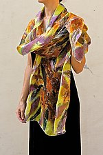 Floral Organza Scarf in Orange Osmanthus by Yuh  Okano (Silk Scarf)