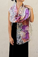Floral Organza Scarf in Purple Cyclamen by Yuh  Okano (Silk Scarf)