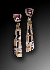 Mosaic Drop Earrings with Garnets by Lynda Bahr (Gold & Stone Earrings)