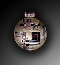 Mosaic Pendant with Garnet & Diamond by Lynda Bahr (Gold & Stone Pendant)