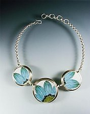 Upsa Daisy Necklace by Amy Faust (Silver & Ceramic Necklace)