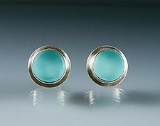 Aqua Glass Button Earrings by Amy Faust (Silver & Glass Earrings)