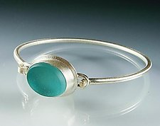 Vintage Glass Bangle Bracelet by Amy Faust (Silver & Glass Bracelet)