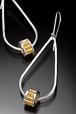 22k Woven Bead Teardrop Earrings by Linda Bernasconi (Gold & Silver Earrings)