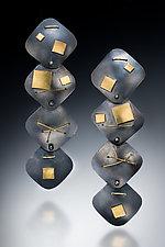 Interwoven Four Square Earrings by Suzanne Schwartz (Gold & Silver Earrings)