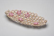 Cherry Blossom Platter by Charissa Brock (Art Glass & Bamboo Platter)