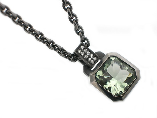 Oblique Pendant in Blackened Silver + Green Amethyst