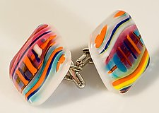 Cuff Links with Bright Colored Pinstripes. by Renato Foti (Art Glass Cufflinks)