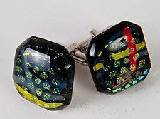 Dichroic Circles and Stripes Cuff Links by Renato Foti (Art Glass Cuff Links)