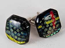 Dichroic Circles and Stripes Cuff Links by Renato Foti (Art Glass Cufflinks)
