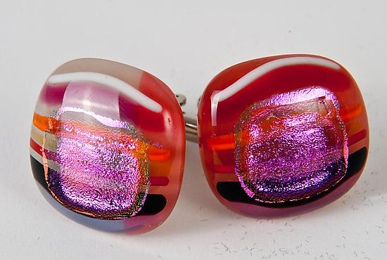 Bright Pinstripe and Dichroic Square Cuff Links