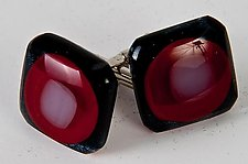 Red, Black, and White Cuff Links by Renato Foti (Art Glass Cuff Links)