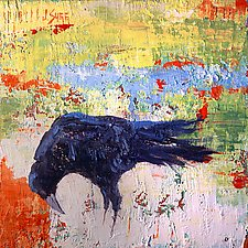 Crow Looking Left by Janice Sugg (Oil Painting)