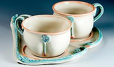 Porcelain Fiddlefern Cups on Fiddlefern Tray by Carol Barclay (Ceramic Tea Set)