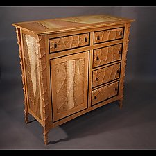Carved Cherry Case by John Wesley Williams (Wood Cabinet)
