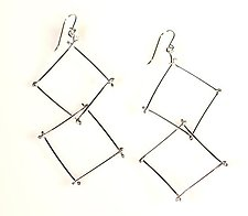 Double Twig Earrings by Gillian Batcher (Silver Earrings)