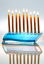 Shalom Menorah by Benjamin Silver (Art Glass Menorah)