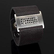 Slim Mesh Wrist Wrap by Karen Klinefelter (Silver & Leather Bracelet)