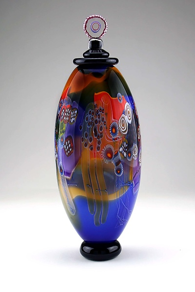 Color Field Jar in Marine Blue and Amber