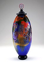 Color Field Jar in Marine Blue and Amber by Wes Hunting (Art Glass Vessel)