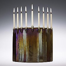 Pillars Menorah by Joel and Candace  Bless (Art Glass Menorah)