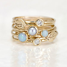 Leaf, Opal, Diamond, and Pearl Stacking Ring Set by Melanie Casey (Gold & Stone Ring)
