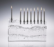 Block Menorah by Joel and Candace  Bless (Art Glass Menorah)