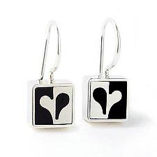 Mini Half Heart Earrings by Victoria Varga (Silver & Resin Earrings)