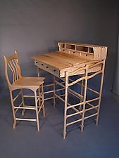Stand Up Desk and Stool by John Wesley Williams (Wooden Desk)