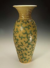 Puzzle Vessel with Yellow and Green Ash Glazes by Lance Timco (Ceramic Vessel)