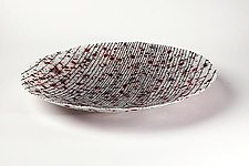 White Bowl with Stripes and Confetti Accents by Marianne Thompson (Art Glass Bowl)