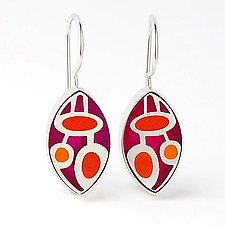 Elliptical Tri-Color Earrings by Victoria Varga (Silver & Resin Earrings)