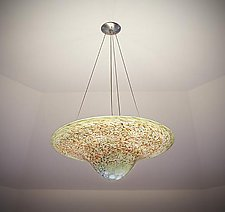 Peach & Sage Stone Round Pendant by Joel and Candace  Bless (Art Glass Ceiling Lamp)