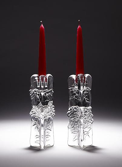 "Pair of Three-Sided 8"" Candlesticks"