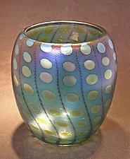 Teal Transparent Nutty Bowl by Thomas Philabaum (Art Glass Bowl)