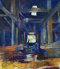 Van Benschoten Barn, interior by Alix Travis (Watercolor Painting)