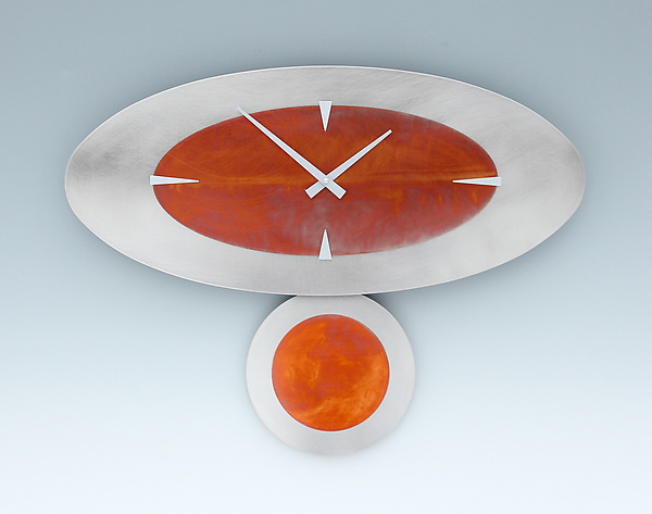 Steel & Copper Stand-Alone Oval Pendulum Clock