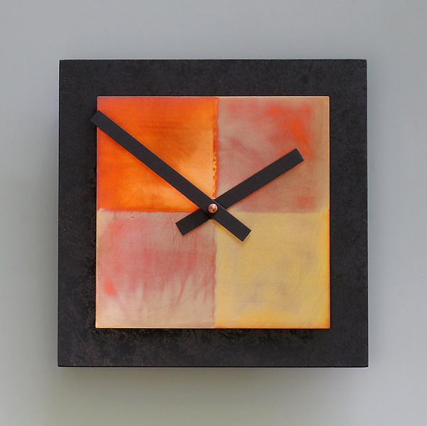 8x8 Black and Copper Wall Clock