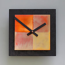8x8 Black and Copper Wall Clock by Leonie  Lacouette (Wood & Metal Clock)
