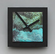 8x8 Black and Verdigris Wall Clock by Leonie  Lacouette (Wood & Metal Clock)