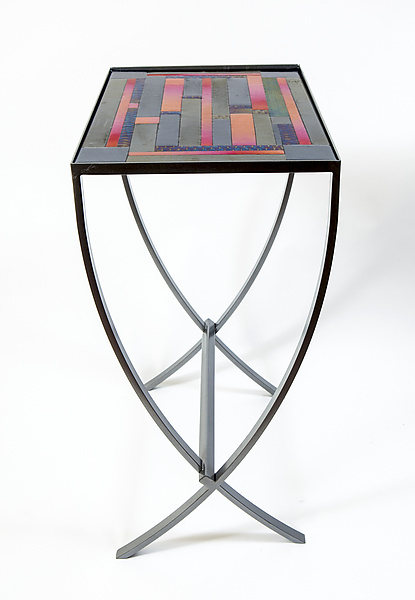 Iridescent Stripes Art Glass Table