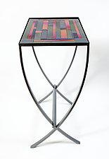 Iridescent Stripes Art Glass Table by Varda Avnisan (Art Glass Console Table)