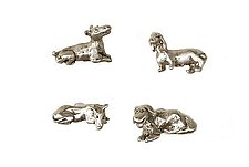 Resting Dog Knobs by Rosalie Sherman (Metal Knob)