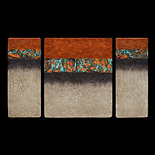 Canyon Walls Triptych M Plus OBC by Kara Young (Fiber Wall Art)