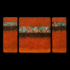 Canyon Walls Triptych M Plus OBO by Kara Young (Fiber Wall Art)