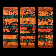 Earth and FireTriptych M Torn Metal by Kara Young (Fiber Wall Art)