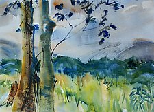 Trees before Mountains by Alix Travis (Watercolor Painting)